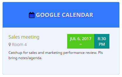 custom google calendar widget