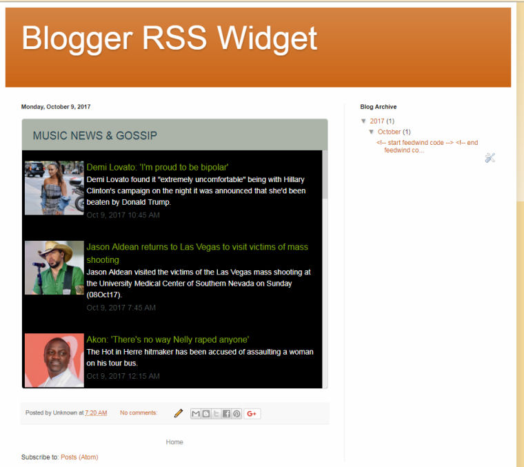 google blogger rss feedwind support