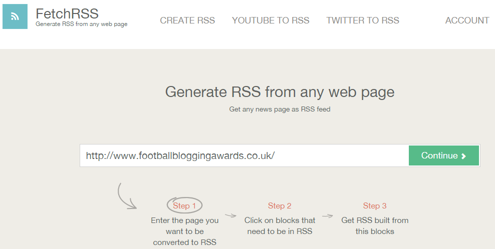 fetch RSS creates RSS feeds for webpages