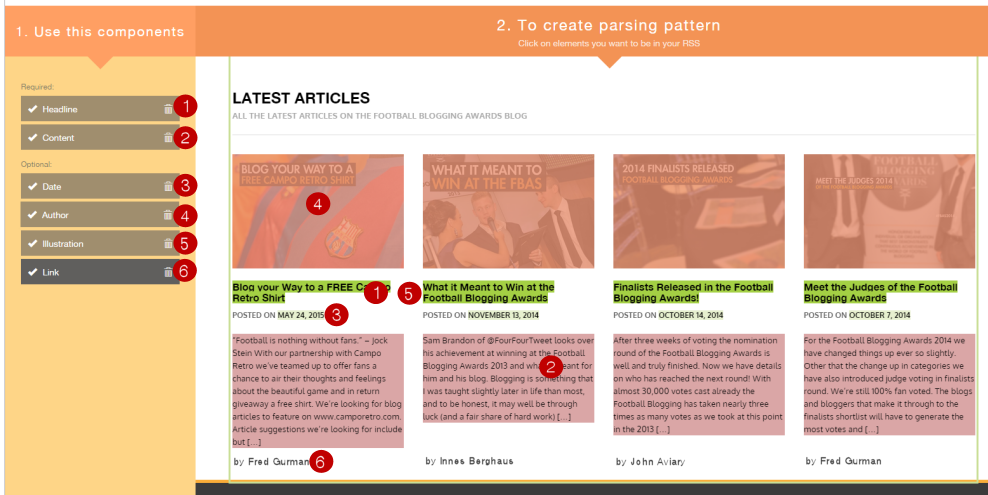 fetch RSS creates RSS feed embed to in website