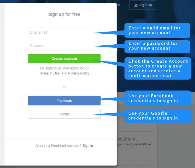 FeedWind rss widget signup