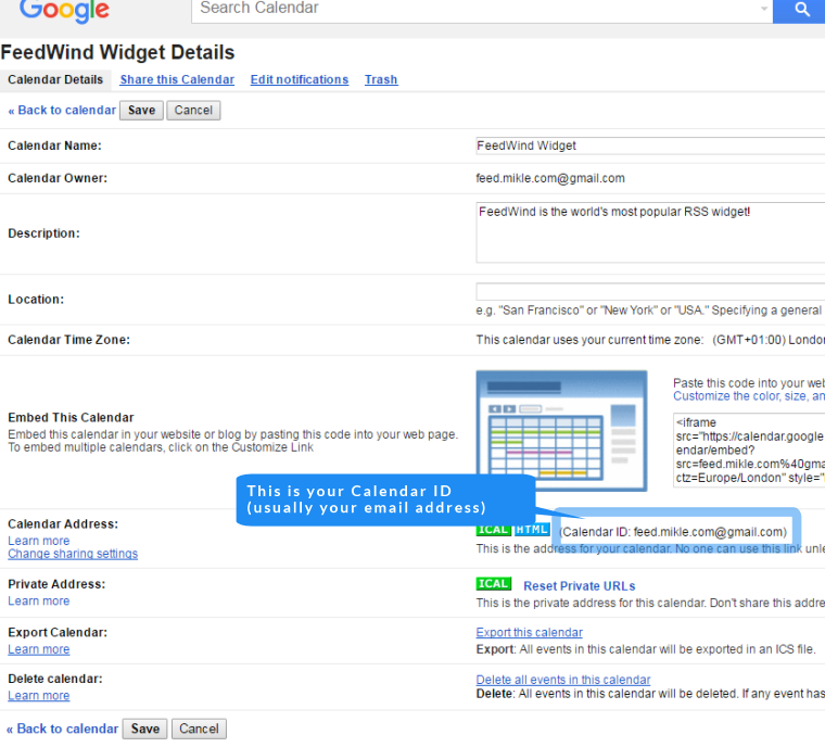 find your google calendar ID
