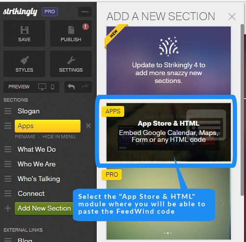strikingly feed widget App Store & HTML