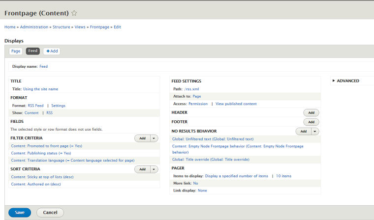 drupal rss feed configuration