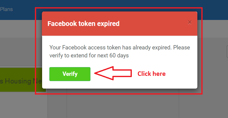 Facebook token expired notification